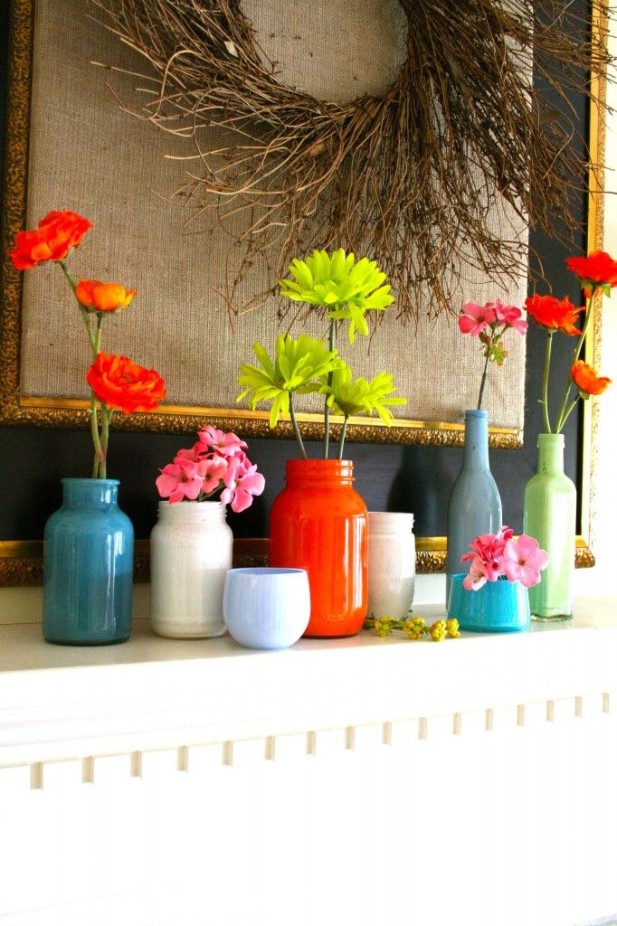 Painted jars on the mantle. I'm going to do this.