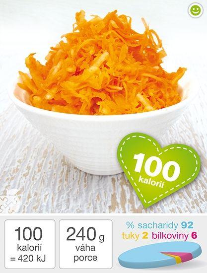 Mrkvový salát s jablkem - 300 g mrkve (kupte si čerstvou s natí) 1 středně velké šťavnaté jablíčko (150 g) šťáva z poloviny citrónu  Příprava Mrkev si opláchněte, pokud je to nezbytné, tak oloupejte škrabkou. Nastrouhejte si jí na jemném struhadle. Potom si oloupejte opláchnuté jablko a nastrouhejte si ho na hrubším struhadle k mrkvi. Přidejte čersvou šťávu z citrónu. Salát dobře promíchejte a ručně promačkejte, aby mrkev i jablíčko uvolnilo šťávu. Před podáváním vychlaďte.