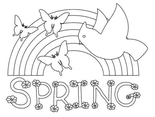 rainbow beautiful spring coloring pages