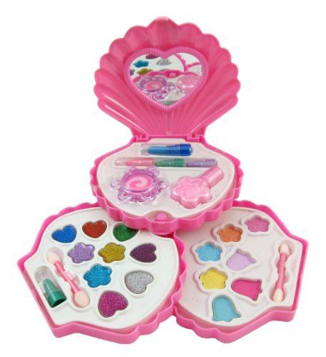 Petite Girls Clam Shell Shaped Cosmetics Play Set - Fashion Makeup Kit for Kids by Petite Girls. $13.95. Clam Shell Shaped Cosmetics Play Set - Fashion Makeup Kit for Kids  Make-up palette that swivels into a compact clam shell carrying case. Everything a little girl needs for her very own makeup kit! Includes Glitter Makeup, Nail Polish, Makeup Case, Mirror, Blush and more! Safety tested, non-toxic and washable. Ages 5 and Up