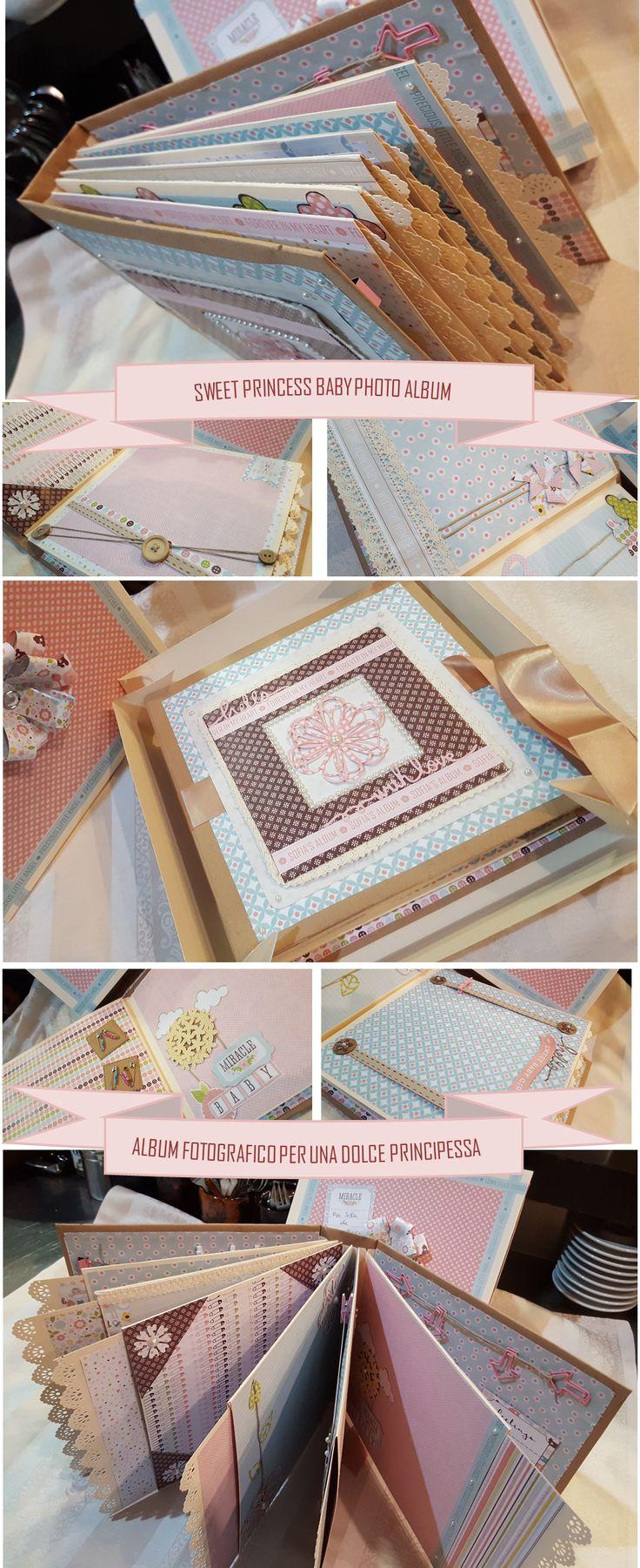 Album fotografico, personalizzato e decorato, per la nascita di un piccola principessa. :-)  Photo Album for a Little Princess.