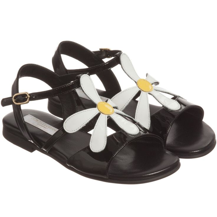 Dolce & Gabbana Girls Black Patent Leather Daisy Sandals at Childrensalon.com