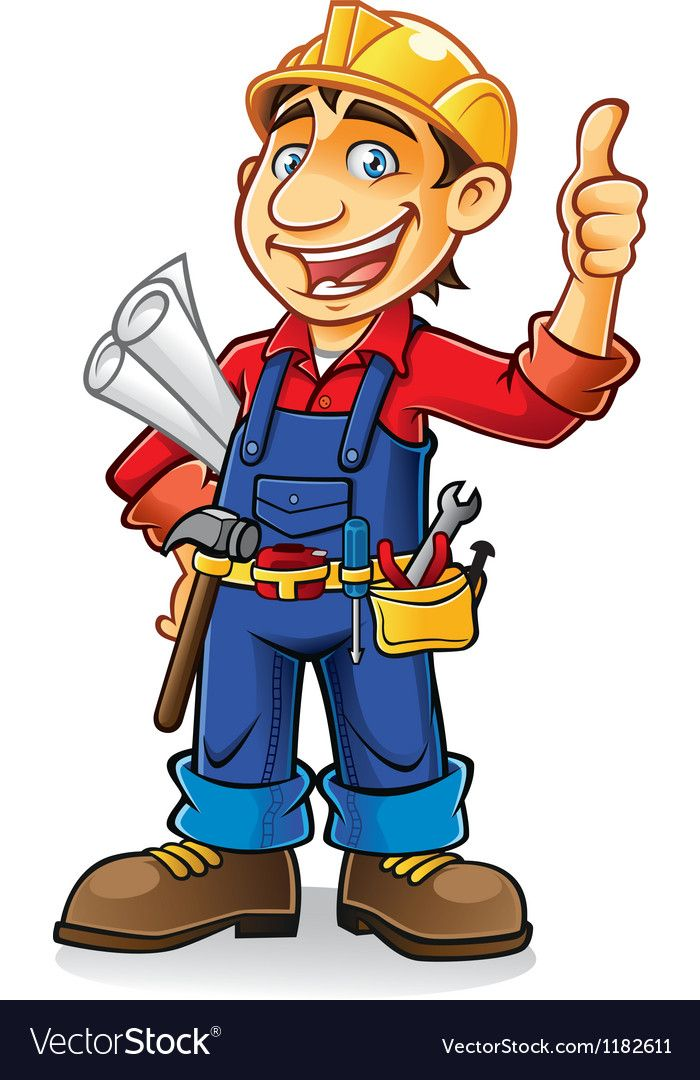 Construction Worker Vector Image On Vectorstock Construction Worker Handyman Logo Clip Art