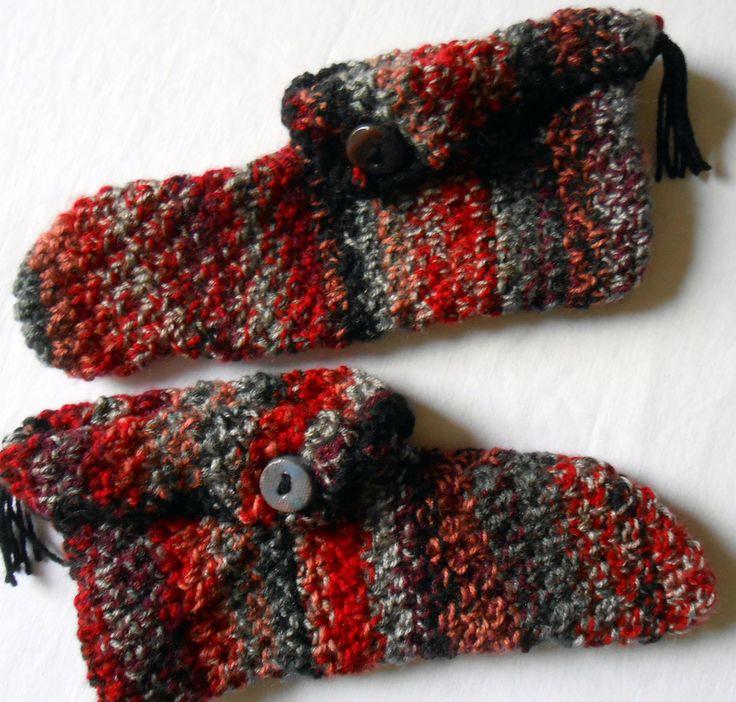 Chaussons multicolores en laine tricotés main : Autres mode homme par babiolesdeceline
