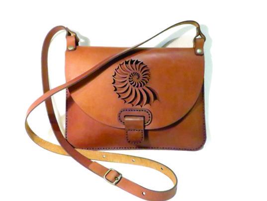 SHELL 25cm X 18cm CROSSBODY CLUTCH BAG Genuine leather, Laser cut, Hand stitched