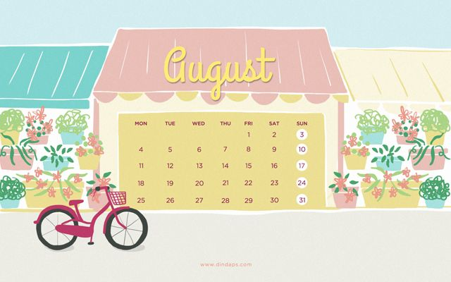 August 2014 Wallpaper Calendar - Shimokitazawa (Tokyo) Illustration