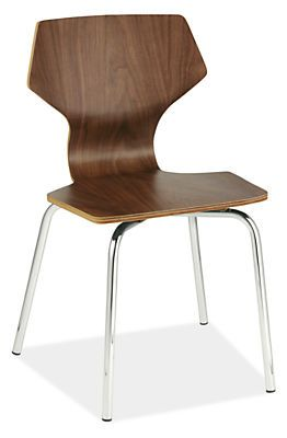 Designed by Room & Board, this modern kids chair is made from bent plywood. Curved for comfort and sized for kids, it's available in walnut or a bevy of colors, all with shiny chrome legs.