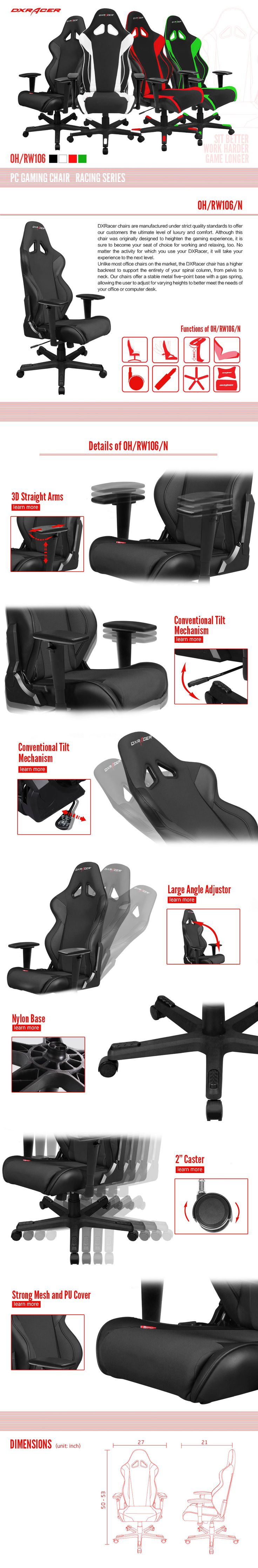 OH/RW106/N - Racing Series - PC Gaming Chair | DXRacer Official Website                                                                                                                                                                                 More