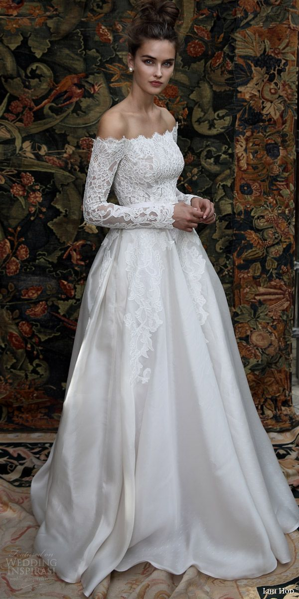 lihi hod bridal 2016 madison romantic ball gown wedding dress off shoulder long sleeve lace top