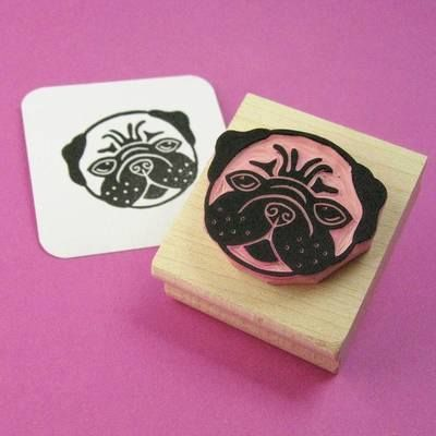 Lovely Pug Hand Carved Rubber Stamp by Skull and Cross Buns