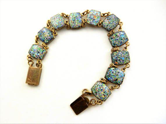 Confetti turquoise stones 10 links Venetian art by RAKcreations