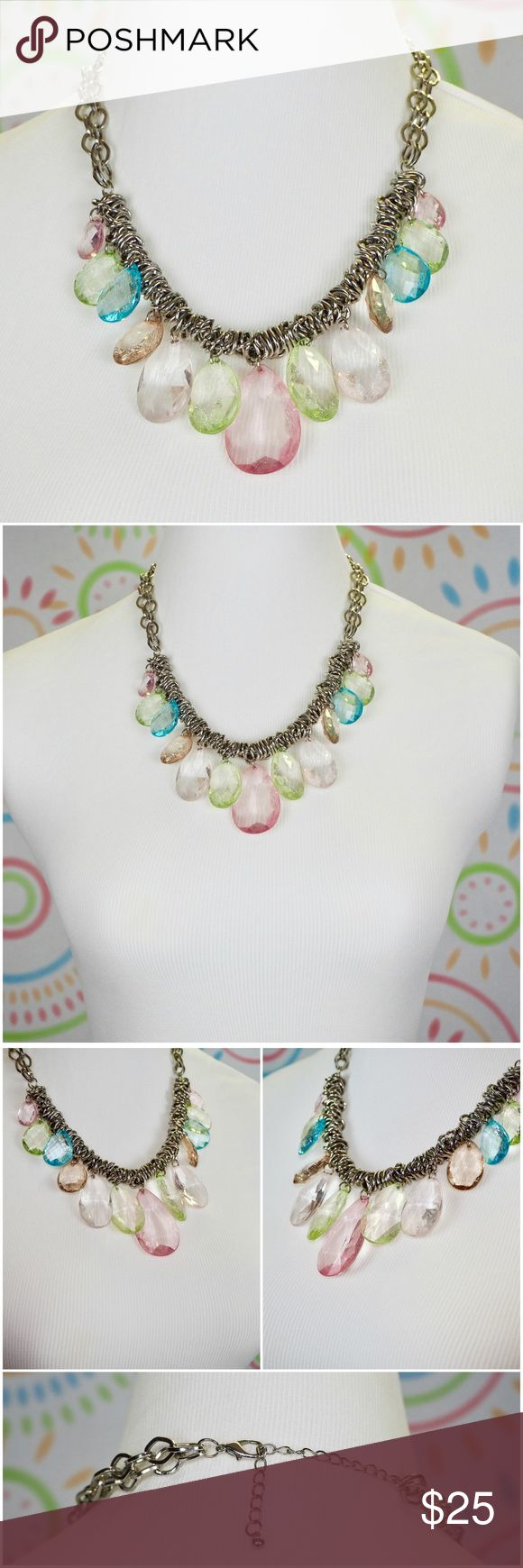"Women Chunky Statement Bib Multi Color Necklace Style: Bib Metal: Stainless Steel Stone: Acrylic   Length: 18"" with 3"" extender Closure: lobster clasp with adjustable chain Weight: 4.6 oz / 130 gram  This jewelry is well-made and in excellent condition. Ship in a jewelry box. Price is firm. Jewelry Necklaces"