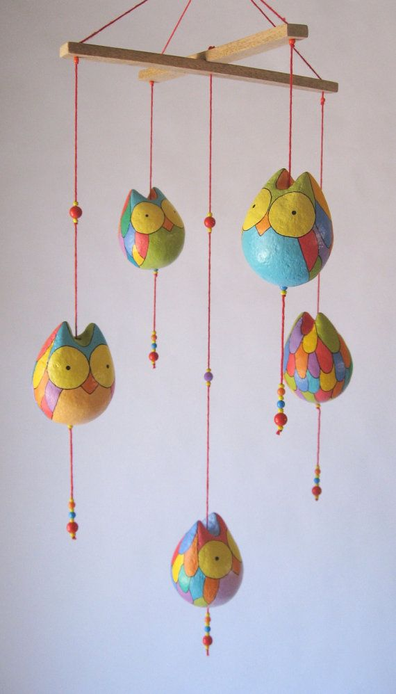 Paper Mache owls mobile