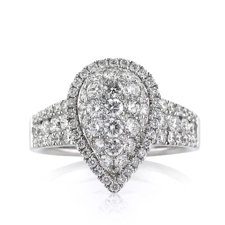1.59ct Round Brilliant Cut Diamond Teardrop Engagement Ring
