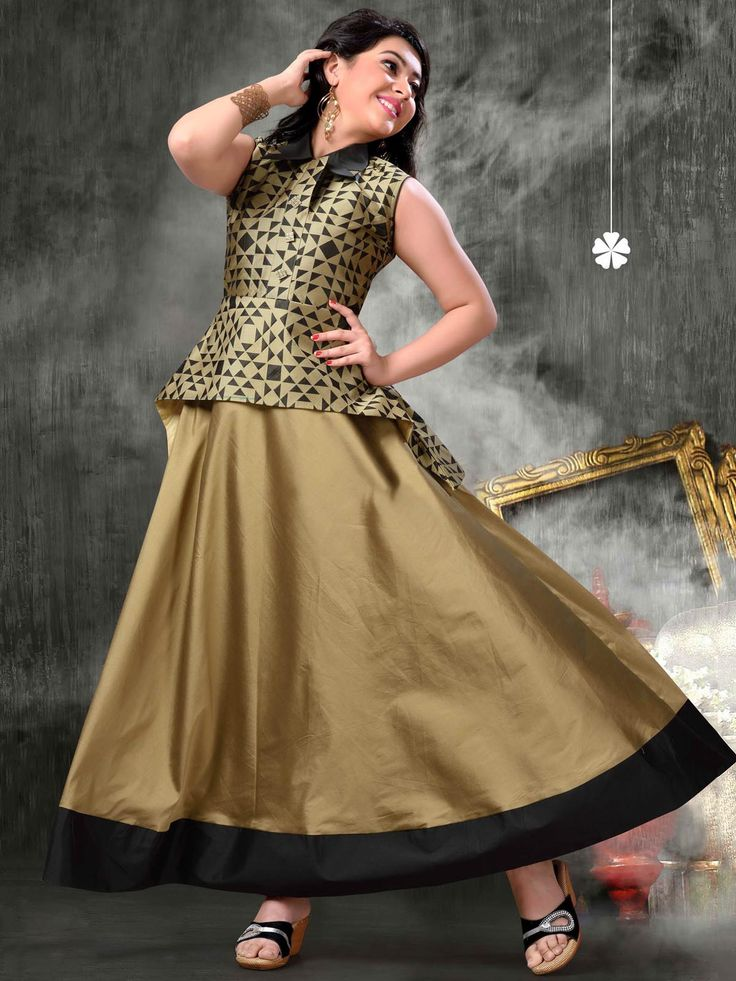 Classy gold and black silk net gown #gowns #partywear #partygown #fashion #westernfashion #dressup