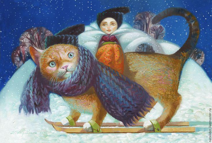 Купить Принт Зимний кот - тёмно-синий, картина кот, картина зима, детская картина