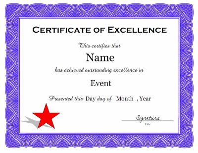 A certificate of excellence template in pdf and doc for Certificate of excellence template