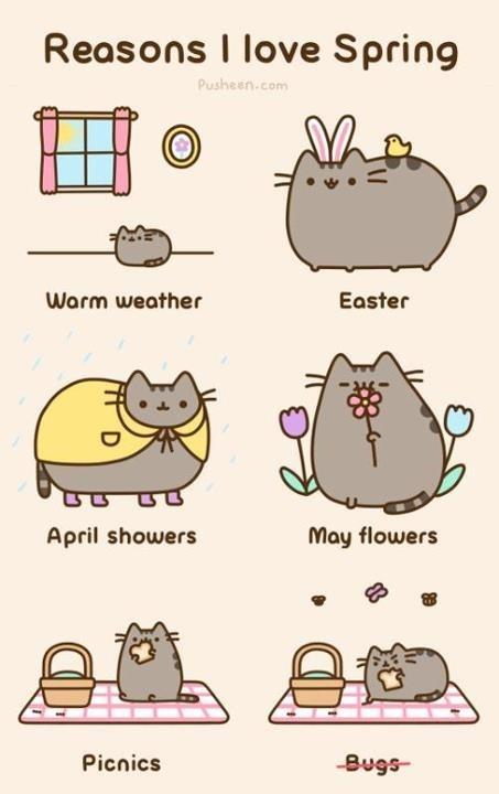 Razones para amar la primavera por Pusheen