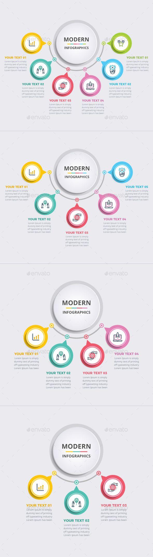 Simple Modern Circle Infographics Template Vector EPS, AI Illustrator