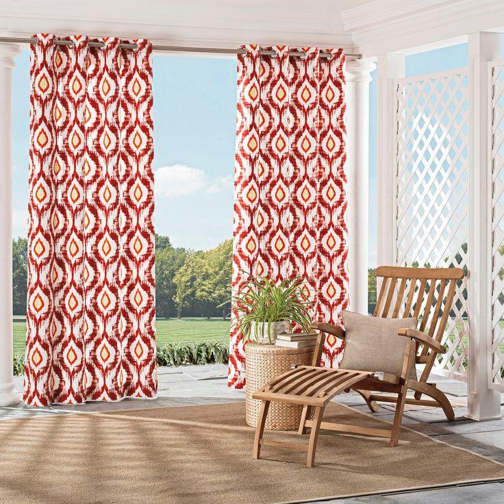 "Barbados Indoor/Outdoor Geometric Curtain Panel Orange (52""x95"") - Parasol"