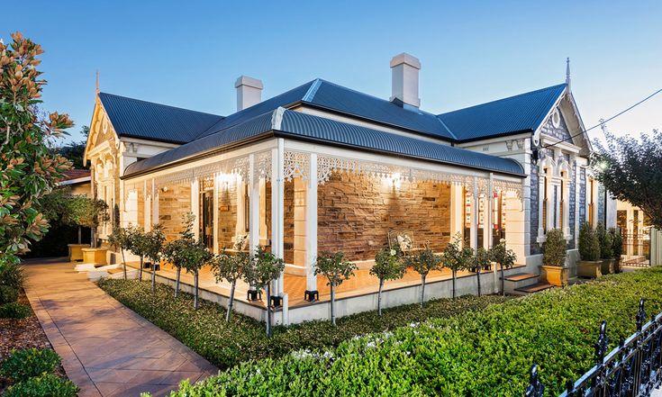 Bluestone return verandah villa. High ceilings. Lead light windows. Polished timber floorboards. Living. Adelaide. Fitzroy. InDaily.