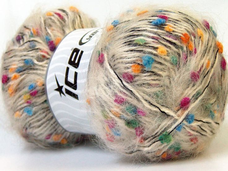 Fiber Content 40% Mohair, 30% Acrylic, 30% Polyester, White, Rainbow, Brand ICE, Yarn Thickness 5 Bulky  Chunky, Craft, Rug, fnt2-27562