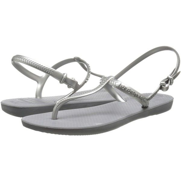 Havaianas Freedom Flip Flops Women's Sandals, Gray ($23) ❤ liked on Polyvore featuring shoes, sandals, flip flops, grey, grey flip flops, rubber sandals, flexible shoes, synthetic shoes and havaianas