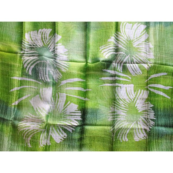 Green Natural Silk Hand Dyed Handwoven Batik Shawl Wedding Gift Wedding Accessories Thai Raw Silk Handmade Light Weight Silk Shawl For Her (€25) found on Polyvore featuring women's fashion, accessories, scarves, green scarves, lightweight scarves, batik scarves, green shawl and light weight scarves