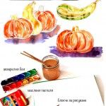HOW+TO+DRAW+a+Pumpkin+in+Watercolor+and+Wax+Crayons