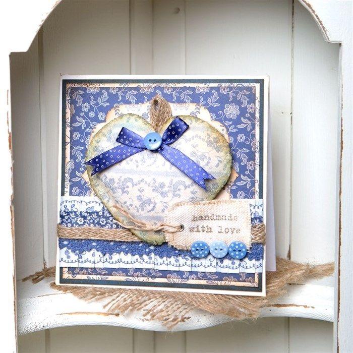 Heart Canvas Image Transfer Card - Parisienne Blue | docrafts.com