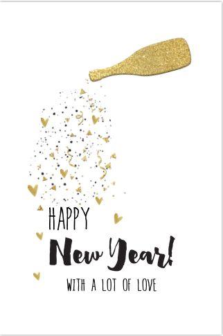 Hippe enkele nieuwjaarskaart op een witte ondergrond stoere brushhandlettering teksten stoere champagnefles met goudlook. Geheel zelf aan te passen.