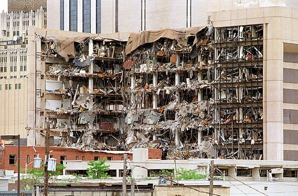 April 19, 1995: Timothy McVeigh sets off a massive fertilizer bomb in front of the Alfred P. Murrah Federal Building in Oklahoma City, OK. 168 people were killed.