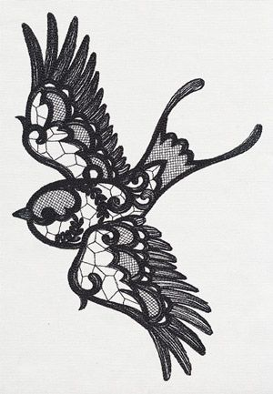 Coming together in a delicate, lace-like fashion, this delightful swallow is ready to drift off into a magical forest. Embroider this ornate design onto scarves, bags and more.
