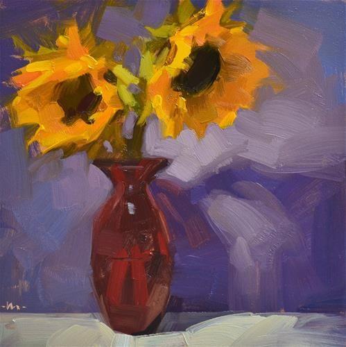 """Sharing the Red Dress"" - Original Fine Art for Sale - � Carol Marine"