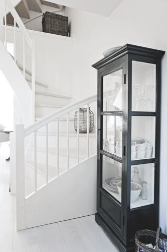 I love an all white staircase.. perhaps with a colorful Albert and Dash runner or a seagrass runner if needed for traction.  Benjamin Moore - porch enamel.