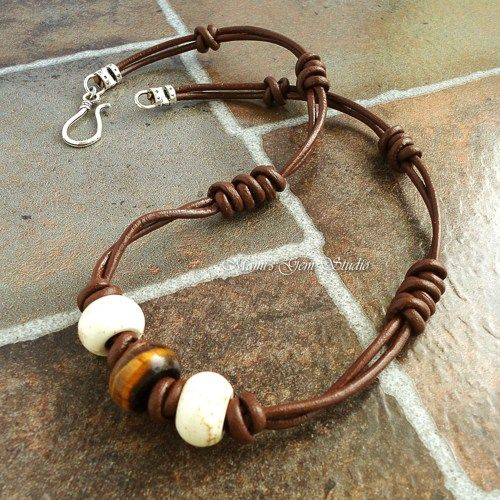 Mens Leather Choker Necklace with Tiger Eye and Magnesite Gemstone