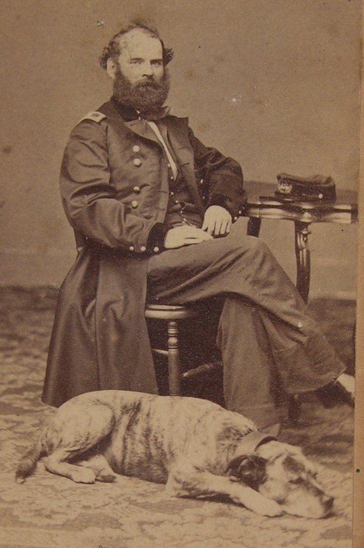 1860's CIVIL WAR UNION GENERAL WITH HIS DOG ALBUMEN CDV PHOTO GREAT RELAXED POSE   eBay