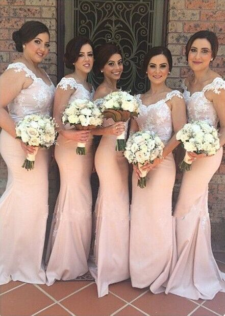 Mermaid Lace Bridesmaid Dresses Pink Sweetheart Off-shoulder Court Train Maid of Honor Dresses