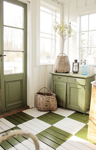 Another pinner says (and I agree!): Wonderful mud room. What a way to be greeted when you get home. Green is my absolute favorite. I adore that green and white checkered floor, the green door and that cute little green sideboard. Lovely, lovely, lovely