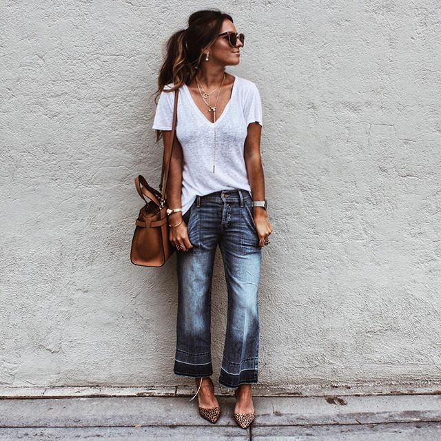 Pin for Later: 32 Lazy but Stylish Outfit Ideas For the Days You Just Don't Feel Like Trying A White V-Neck Tee, Cropped Flare Jeans, and Pointed Flats