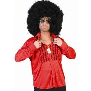Déguisement chemise hippie rouge homme, chemise hippie à ruches adulte style années 60-70, fêtes.
