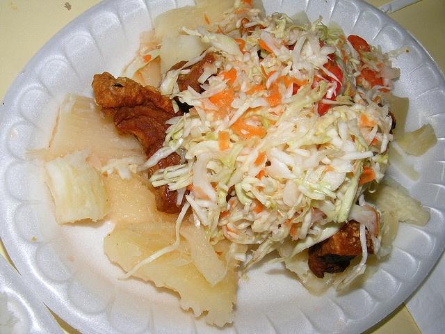 Nicaraguan Vigoron: Yucca, Pork/chicharron, salad is cabbage with ...
