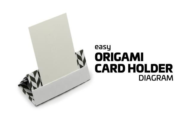 Learn how to make an origami card holder, with an easy to follow diagram. Great for place cards at parties, menu holder at cafes or business cards.