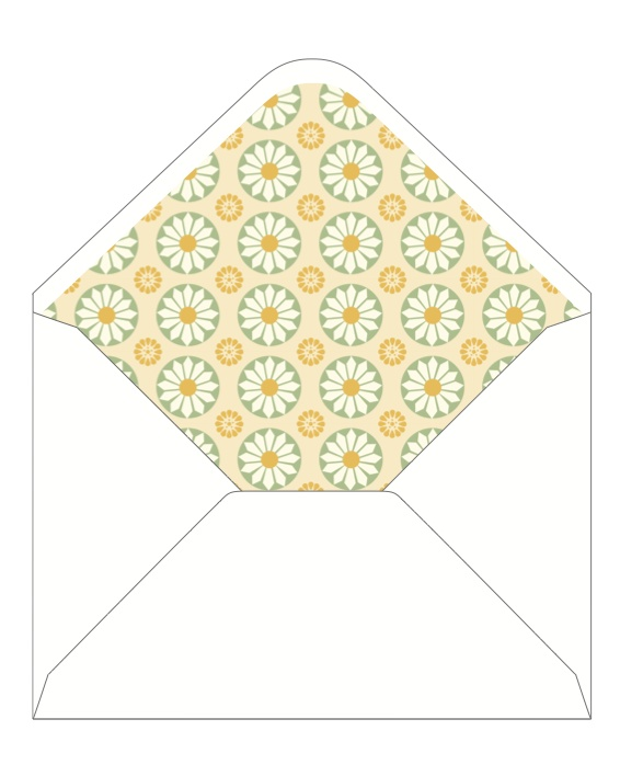 CocoCards: The luxurious touch - hand lined envelopes - sunshine flowers