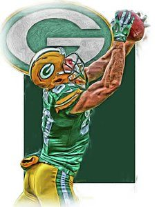 Green Bay Packers Mixed Media - Jordy Nelson Green Bay Packers Oil Art by Joe Hamilton
