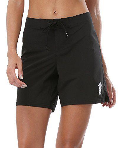 865faf7c23 ALove Women's Solid Stretch Board Shorts Swimwear Quick Dry Swim Shorts  Swimsuit Bottom