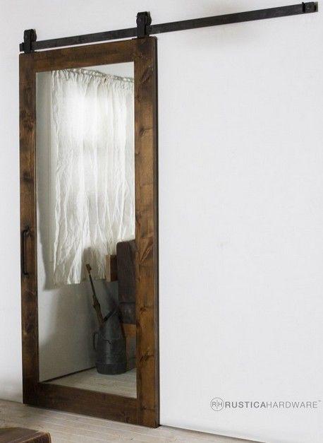 bathroom door - barn door with mirrors on both sides; FeatherRiver door 30x96 = $389; 24x96 = $379