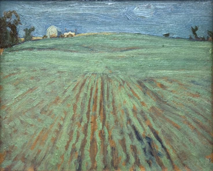 J.E.H. Macdonald - Potato Fields 8.5 x 10.5 Oil on panel (1920)