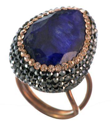 Δαχτυλίδι druzy από ρόζ επιχρυσωμένο ασήμι με εντυπωσιακή πέτρα μπλέ ζαφείρι