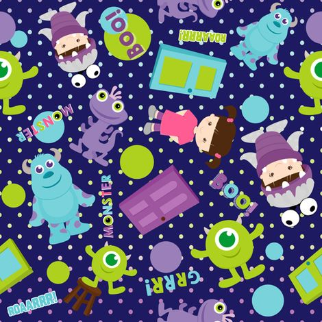 Little monsters fabric by muneca on spoonflower custom for Baby monster fabric